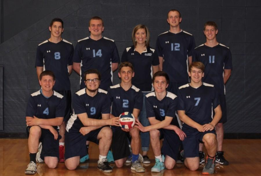 Boys Varsity Volleyball players and Coach Allen