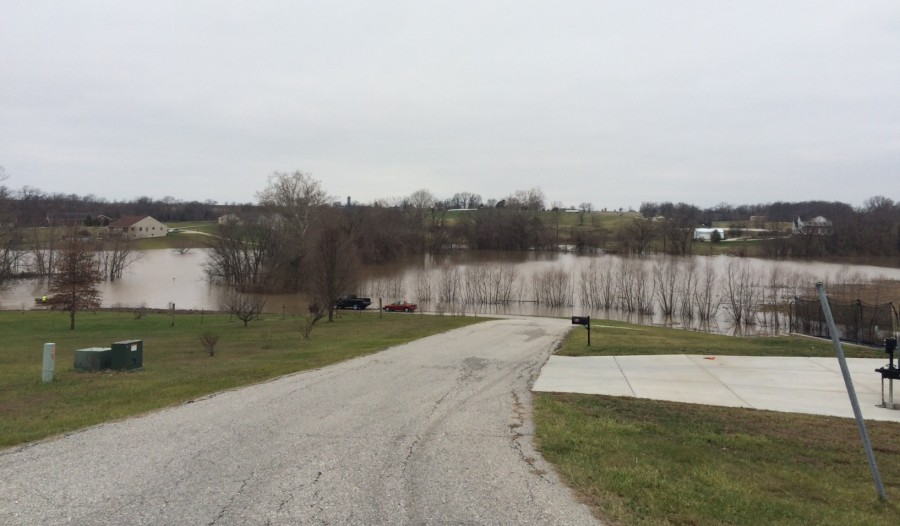 Andrew Keeteman's driveway flooded over.