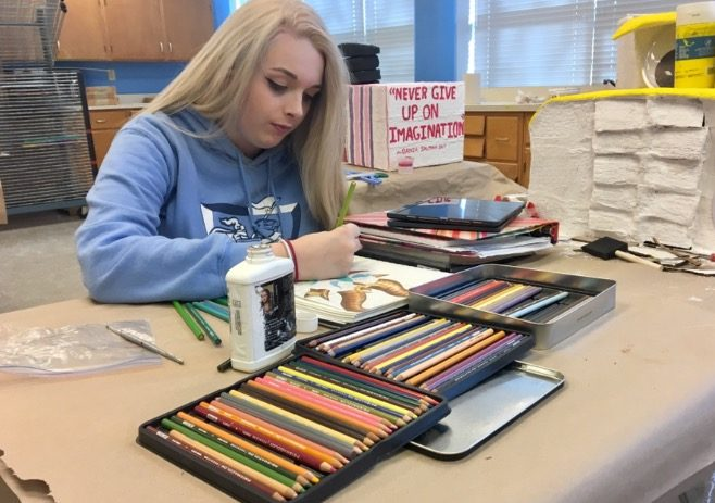 senior Cameron Forrester working on her latest project