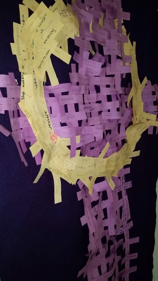 Students wrote down their Lenten promises which were formed into a cross