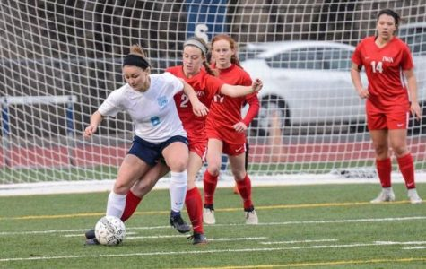 Senior Madeline Weston controlling the ball against Incarnate Word Academy.