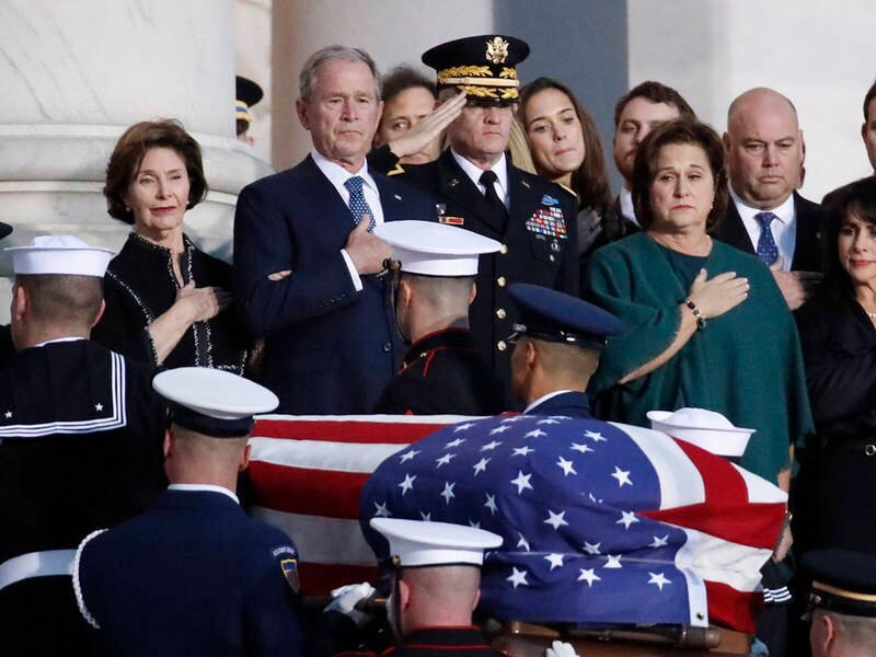 The+family+of+George+H.+W.+Bush+in+mourning.