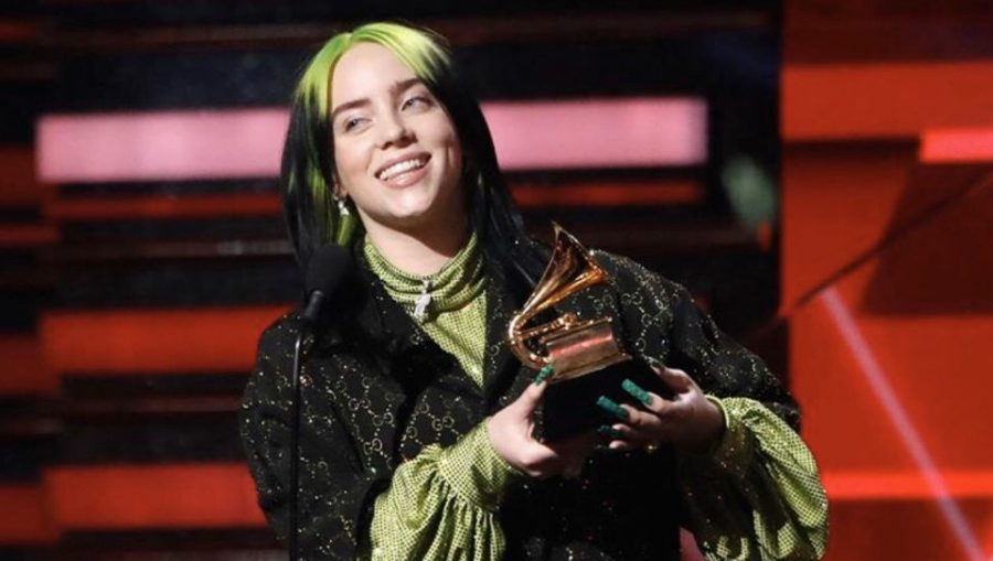 Billie+Eilish+takes+home+five+trophies+at+the+Grammy+Awards+this+past+Sunday.+