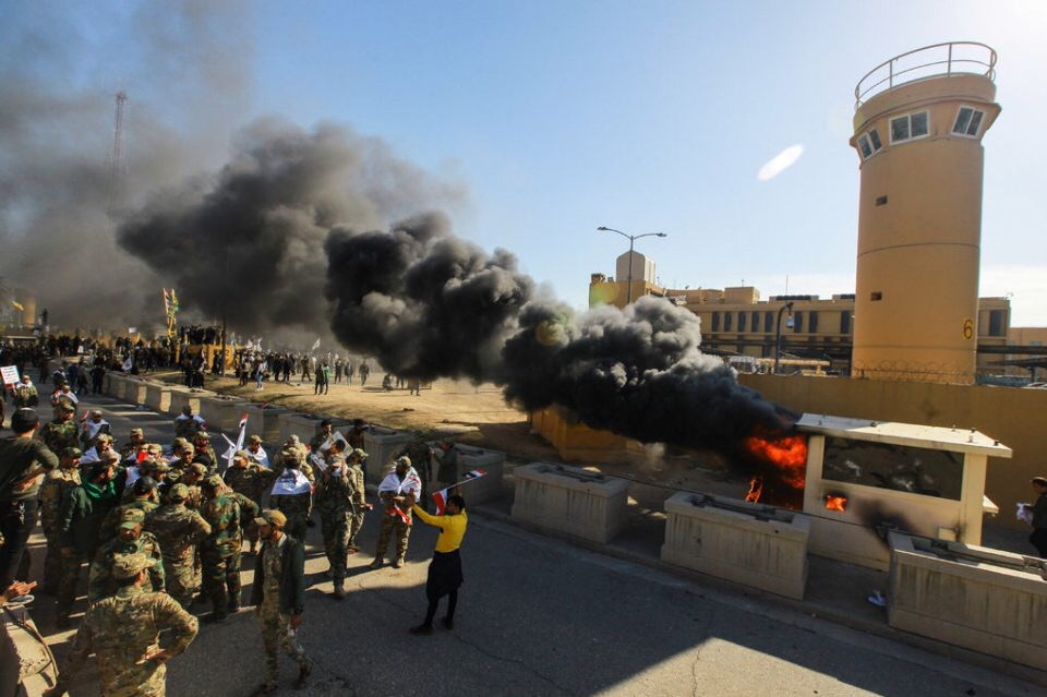 The American Embassy compound in Iraq burns after an Iranian-backed attack.