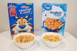 Kellogg's Frosted Flakes are $1.00 more than Walmart's Great Value brand and there's barely a difference in taste.