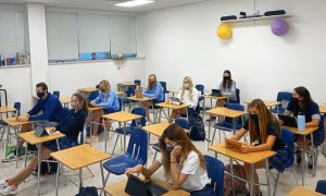 Many Spanish 4 students returned to learn in person while joined virtually