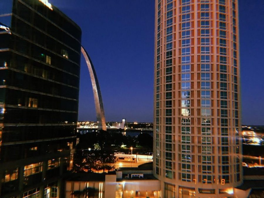 """""""Dusk Atop St. Louis"""" was taken on the top of a building on the Fourth of July."""