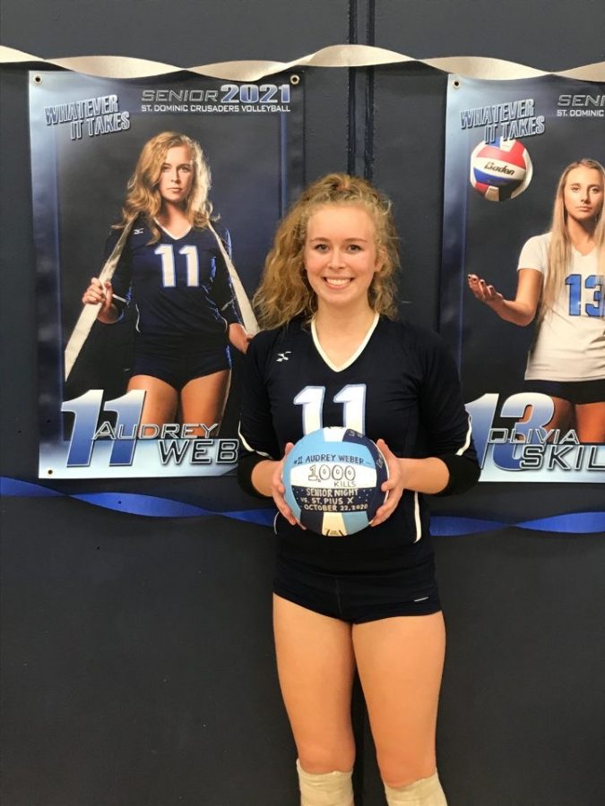 Creating records with a kill. Senior Audrey Weber get her 1000th career kill and is the first ever crusader to do so
