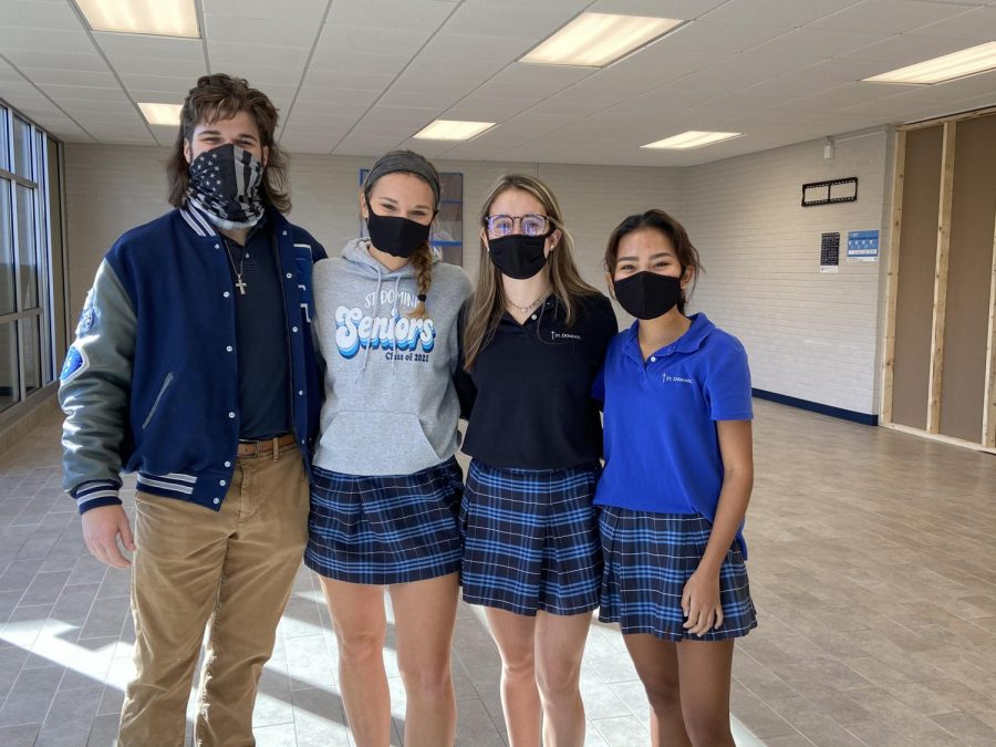 Seniors Jon Gil, Elli Hagan, Kate Ryan, and Andie Smith are all adopted and apart of the St. Dominic community