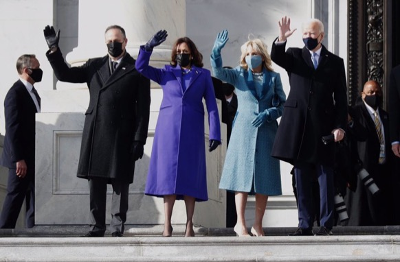 President Joe Biden alongside his wife Jill Biden, and VP Kamala Harris with her husband Doug Emhoff at the U.S. Capitol for the start of the inauguration ceremony.