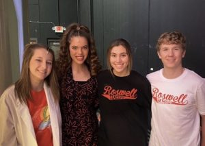 Cast and Crew members gather backstage before the last dress rehearsal! (from left to right: Emily Baird, Sophie Juergensmeyer, Paige Hunt, Hunter Bunge)