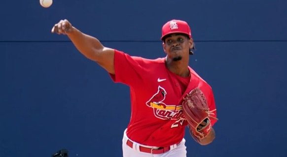 Pitcher Alex Reyes warms up on the second day of spring training for the 2021 season.