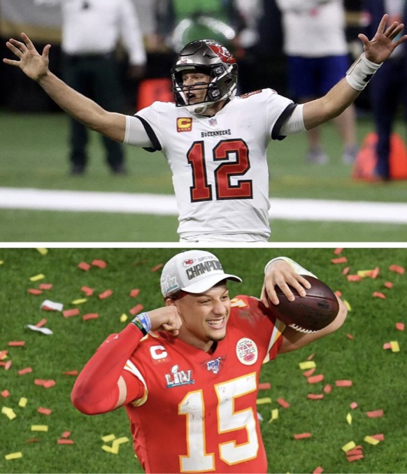 Super Bowl LV will surely keep fans entertained with this epic QB matchup of Tom Brady (above) and Patrick Mahomes (below)