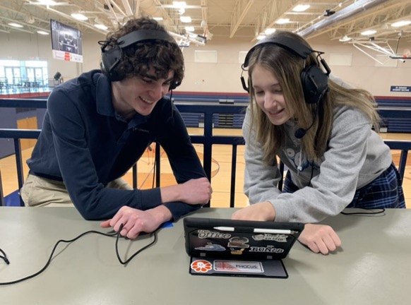 Max Williams and Emily Baird are the first St. Dominic students to take on sports broadcasting.