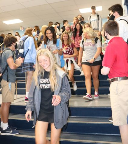 The seniors walk through the Saint Dominic hallways for the last time